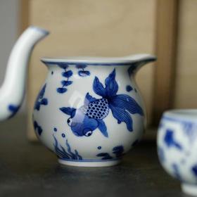 观味 金玉良缘 手绘青花瓷金鱼公道杯