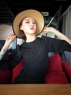 超长绑带神秘性感经典小黑裙