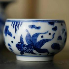观味 金玉良缘 手绘青花瓷金鱼品茗杯