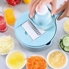 厨房多功能切菜神器 | 切菜、沥水、装菜三合一、9大功能,刨丝儿、磨蓉、、分离蛋清、还能榨汁