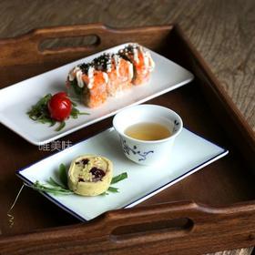 和风新骨瓷 长方形 前菜盘 冷裁盘 寿司盘 甜点盘 茶盘 家宴轰趴 满包邮