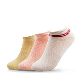华夫格竹纤维女袜女船袜3双装 糖果色浅口透气吸汗防臭(3双装)
