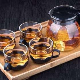 【米兰优选】花茶壶套装 耐热高温泡茶茶具 一壶四杯