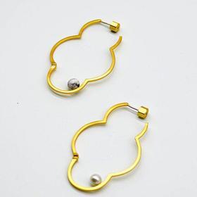 「無门」·庭竹系列·花·不对称耳环·现货