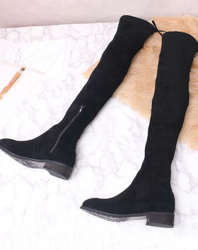 麦包包-英国Clous Krause 甜美绒面女长筒靴粗高跟过膝靴