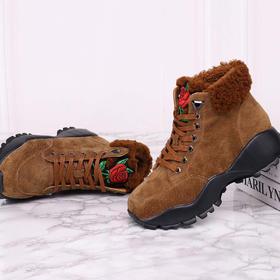 麦包包-英国Clous Krause 厚底中巴皮加厚毛印花高邦系带女鞋