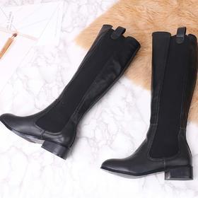 麦包包-英国Clous Krause 牛皮加绒圆头粗跟长靴时尚百搭骑士靴