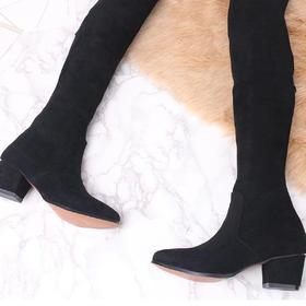 麦包包-英国Clous Krause 长靴女弹力靴过膝靴女靴子高跟单靴长筒靴女鞋