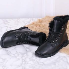 麦包包-英国Clous Krause 女鞋牛皮加绒圆头短靴子百搭雪地靴潮