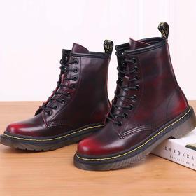 麦包包-英国Clous Krause 韩版靴子女马丁靴牛皮平底中筒靴女圆头学生单靴
