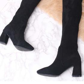 麦包包-英国Clous Krause 长筒靴圆头粗跟高跟过膝高筒女靴