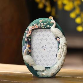 法蓝瓷 幸福珍藏 白孔雀相框