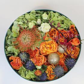 月上柳梢--创意圆形鲜花花盒