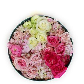浅笑--创意圆形高端鲜花花盒