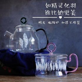 高颜值 羽花图案 透明加厚无铅无毒耐高温玻璃 防炸裂 多用茶壶养生壶、单人锅 早餐下午茶轰趴
