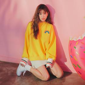 2019春装新款加绒加厚宽松卫衣女学生韩版长袖cec黄色上衣外套潮