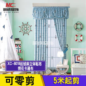布料/卡通布/XC-8018丝绒麻立体贴布绣花卡通布