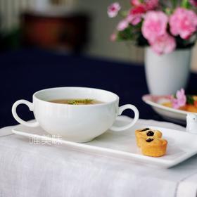 外贸 陶瓷双耳 多用双耳谷物早餐杯麦片粥杯布丁杯汤杯配长形面包甜品水果碟 满包邮