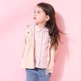 咕噜日记 女童纯色带帽中长款风衣