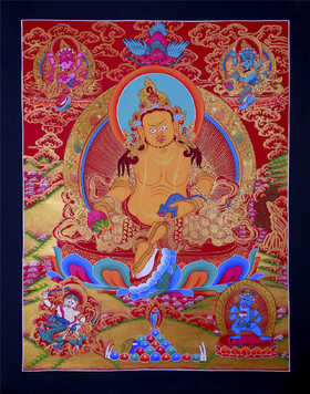 纯手绘尼泊尔黄财神唐卡 天然矿物颜料黄金手工绘制 画芯未装裱 原画