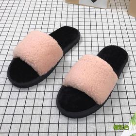 澳洲羊皮毛一体女士拖鞋 | 卷毛一字拖 | 居家拖鞋