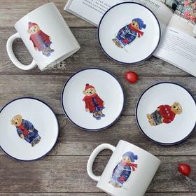 外贸 陶瓷 老少皆宜 可爱泰迪小熊 四色马克杯甜品碟套组 满包邮
