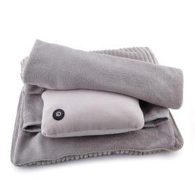 商务多功能休闲毯套装(珊瑚绒毯子 + 按摩枕)开车、办公室、家用必备