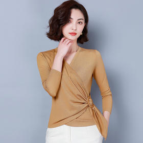 KQL515T9723纯色V领网纱打底衫TZF