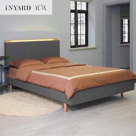 [InYard宜氧]日出床/北欧实木布艺床/原创现代卧室家具含LED灯带
