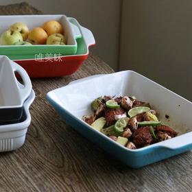 多彩多用 炻瓷 双耳长形深槽大号烤盘 烤鸡烤羊排牛排烤土豆放水果 满包邮