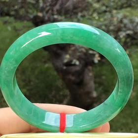 【B8121908】缅甸天然翡翠满绿正装手镯