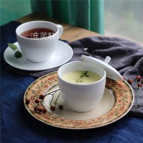 新骨瓷 带盖甜品盅蛋盅汤盅配同款咖啡杯碟 轰趴下午茶家宴 满包邮