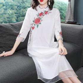 (超值特价)OG1050国风牡丹刺绣连衣裙TZF