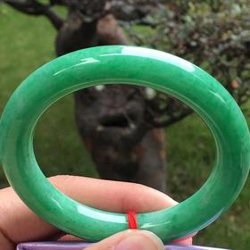 【B8122010】缅甸天然翡翠满绿圆条手镯