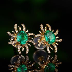 【DD8111512】18k金 钻石 纯天然祖母绿耳钉