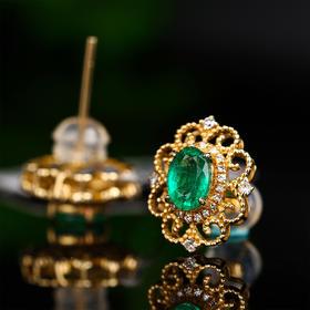 【DD8111511】18k金 钻石 纯天然祖母绿耳钉