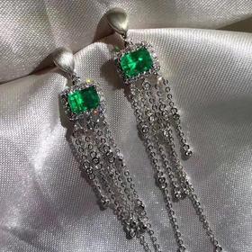 【D9010314】哥伦比亚祖母绿耳环 流苏款 18k金镶嵌