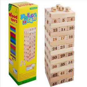 48粒拼装积木叠叠高木制抽抽乐层层叠益智儿童玩具