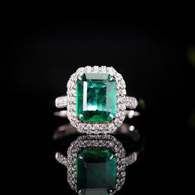 【C9011404】18k金伴钻石镶嵌祖母绿戒指