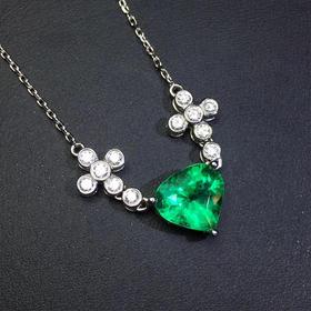 【D90101414】天然无油祖母绿18k白金钻石吊坠项链