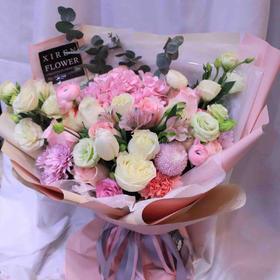 韩式花束玫瑰绣球款