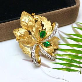 【D9010721】18K金镶钻石祖母绿胸针吊坠