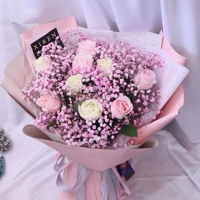 韩式玫瑰满天星款