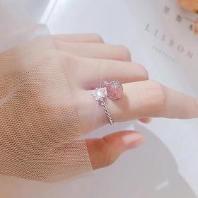 【为思礼】「高颜值纯银星星月亮戒指」草莓晶月光石食指戒 日韩系女开口闺蜜对戒 闺蜜情侣对戒 情人节生日礼物