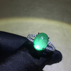 【DD8122160】18k金伴天然南非钻石镶嵌纯天然祖母绿戒指