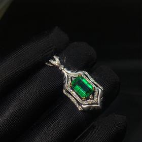【DD8122165】18k金伴天然南非钻石镶嵌纯天然祖母绿吊坠