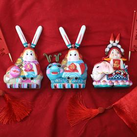 北京传统泥彩塑吉祥兔爷-坐象/麒麟