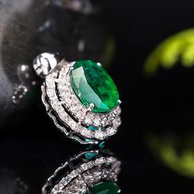 【CK8123110】18k金伴钻石镶嵌天然祖母绿吊坠