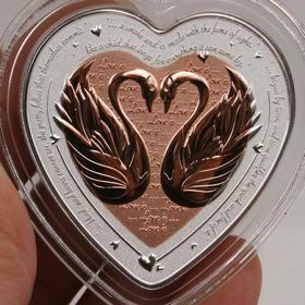 【预售】2019年爱情颂歌-天鹅心形双金属制纪念币