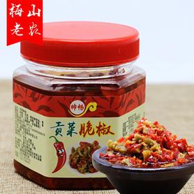 【梅山老农】湖南特产剁辣椒酱拌面下饭菜 农家自制贡菜脆椒